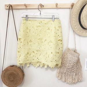 ASOS light yellow floral lace mini skirt size 6
